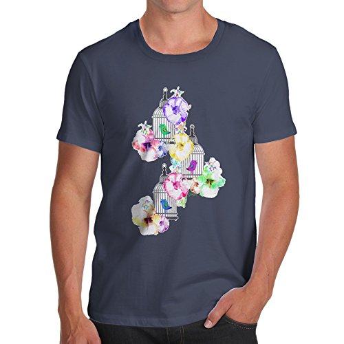 Herren Watercolour Bird Cage T-Shirt Marineblau