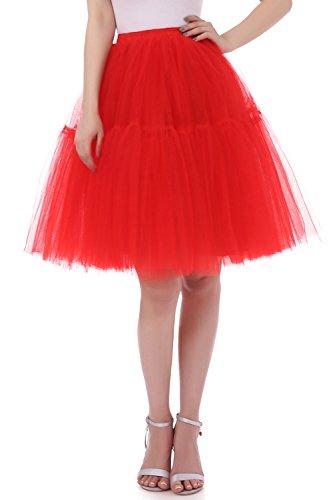 Kostüm Selbstgemacht Flamingo Halloween (Tsygirls Vintage 5 Lage Prinzessin Falten Tüllrock Röcke Tutu Petticoat Ballettrock Unterrock Pettiskirt Rot Größe)