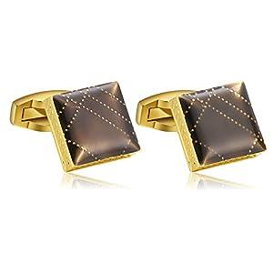 Daesar Männer Manschettenknopf Hemd Gold Quadrat Streifen Edelstahl Herren Manschettenknöpfe Hochzeit mit Box