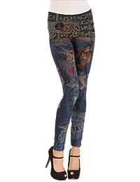 Balingi Damen Tattoo Leggings mit Leo Muster BA10284