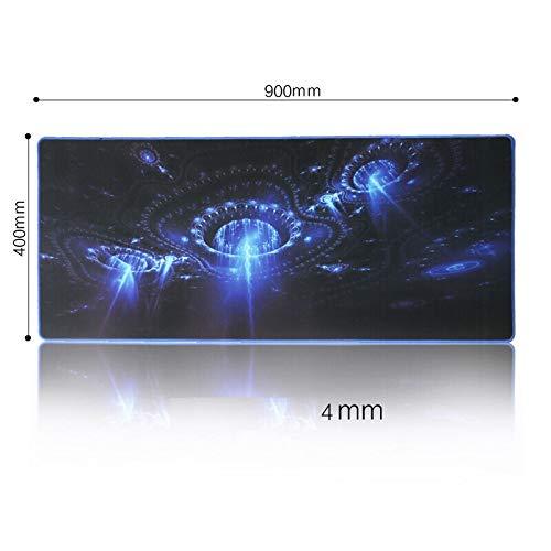 Mauspad Größe 900x400x4mm Blau Rutschfeste Mausmatte Gummi Material Verschlusskante Für PC Büro Tastaturmatten Glatte Oberfläche -