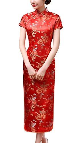 Laogudai Damen Kleid Chinesisch Etuikleider Kurzärmelig Cheongsam Front Slit Qipao Traditionale Langkleid Abendkleider Partykleider Rot-XL (Chinesische Kleidung Für Frauen)