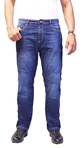 HB Moto Kevlar / Aramide Lined Jeans pour les hommes. Bleu. Protecteurs gratuites. Jeans Moto. 36Wx32L.