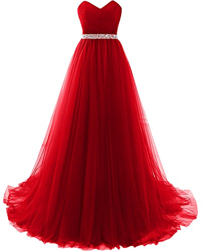 Milano Bride Rot Herzausschnitt Tuell Damen Abendkleider Partykleider Promkleider Abiballkleider...