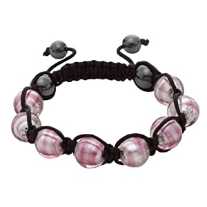 Bellissi Murano Venezia Pink and White Shamballa Bracelet with Genuine Murano Glass and Haematitie Beads on Black Cord