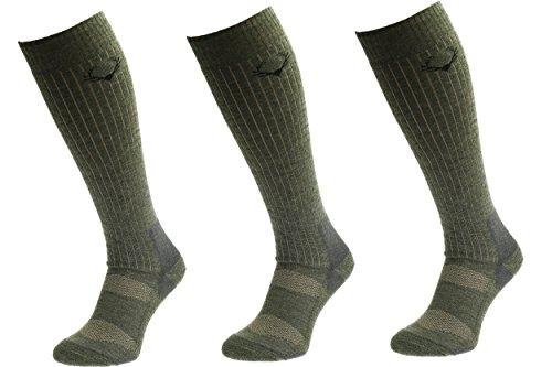 COMODO® SMW - Conjunto de 3 Calcetines de la Caza (40% Lana Merino Diferentes Espesores - SMW 2 // SMW3 // SMW4 // SMW 5 // SMW 6), Comodo/Mondo-Calza Farbe:SMW4 Khaki;Comodo/Mondo-Calza Größen:39-42