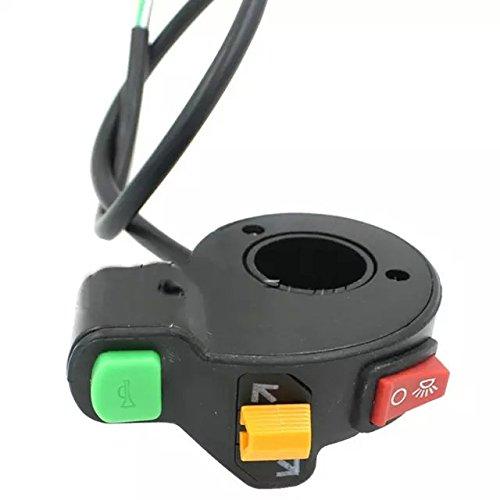 Goliton® Elektro Dreirad Fahrrad Motorrad Horn / Blinker Licht / Scheinwerfer Dreibettzimmer Faucet Kombischalter - Schwarz