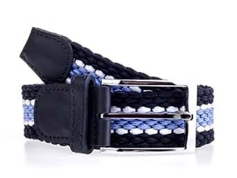 Achtung schadstofffrei: Gürtel Stretch 110 cm Marine Herren Damen Leder Flechtgürtel Ledergürtel Stretchgürtel dehnbar elastisch elastik (XL, Marine mit Lederapplikation)