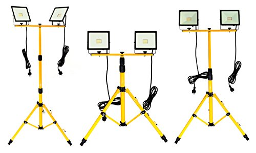 Trango 2x 30Watt LED Arbeitstrahler, Baustrahler Strahler Arbeitsleuchte 2TGG1504-306W - 6000K Tageslicht inkl. je 3m Zuleitung inkl. Stativ mit Höhenverstellbar 66-170cm