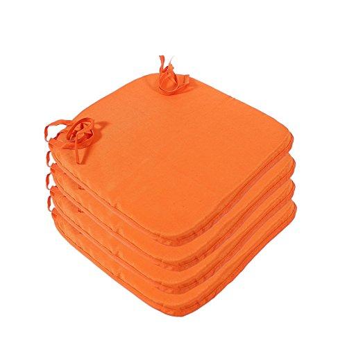 4 teiliges Sitzkissen Set Polsterauflagen mit Bindeband Stuhlkissen Polsterkissen, Farbauswahl:Orange