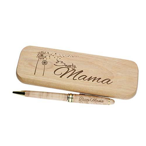 """Kugelschreiber mit Gravur""""Beste Mama"""" in Geschenk-Schachtel aus Holz die Geschenkidee Stift graviert"""