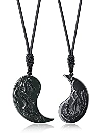 coai Black Obsidian Dragon and Phoenix Yin Yang Pendant Necklaces for Couples