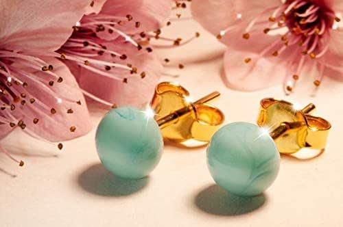 Orecchini Acquamarina in vetro di Murano, Creazioni Pireta, placcato in oro 18k, anallergico, fatto a mano, hand made, Made in Italy, orecchino a bottone, regalo perfetto per lei.