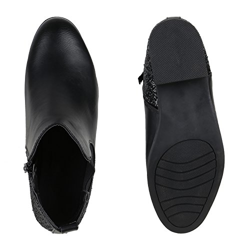 Klassische Stiefeletten Glitzer Damen Lederoptik Chelsea Boots Schwarz