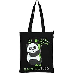 Amazon Marka: Eono Essentials - Bolsa al hombro de 100 % algodón/tela, reutilizable y ecológica, con cremallera y con estampado «Bamboozled Panda» (Negro)