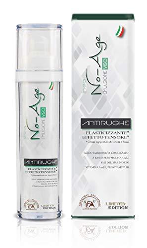 Crema Viso Antirughe Idratante con Acido Ialuronico BPM | 50 ml | No-Age | Emulsionante Viso, Elasticizzante, Effetto Tensore | MADE IN ITALY