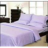 KOMFORT CREATIONS Double King Size Bedsheet With 2 Pillow Covers -100% Pure Cotton Satin Plain Premium Platinum Superior Elegant Solid Stripes, Bedsheet For Home, Regular Use, Hotel Use, Multicolor