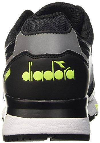 Diadora N9000 Bright Protection, Pompes à plateforme plate homme Nero (Nero/Oro Chiaro Fluo)
