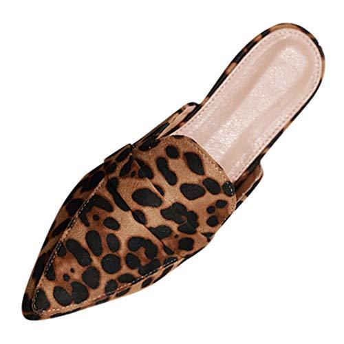 Bio-leopard (CANDLLY Hausschuhe Damen, Wildleder Zeigte Flache Schuhe Damen Sommer Sandalen Wohnungen Leopard Ohne Verschluss Pantoffeln Strandschuhe Frauen Freizeitschuhe Schlüpfen(Braun,41 EU)