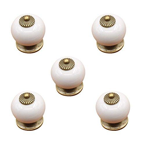 Tenflyer® Packung mit 5 Stück Keramik Tür Locker Knob Weinlese-Bronze Ziehen Schubladenschrank Cabinet Handles (Weiß)