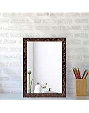 Creative Arts n Frames Brown Color Synthetic Fiber Wood Made Framed Mirror || Size - 10inch x 12inch || Shaving Beauty Makeup Hand Held Vanity Mirror ||