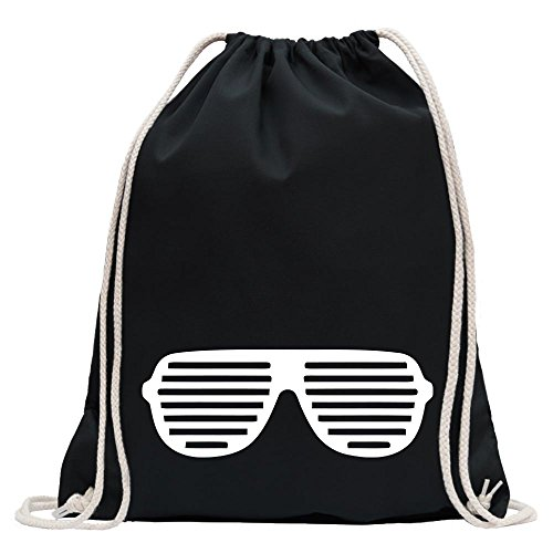 KIWISTAR - Raver Shutter Brille Turnbeutel Fun Rucksack Sport Beutel Gymsack Baumwolle mit Ziehgurt