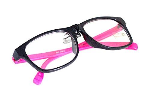 Nerd-Brille Pink ohne Sehstärke 2-farbig 15cm Damen Unisex Panto-Brille Lese-Brille Klar-Glas...