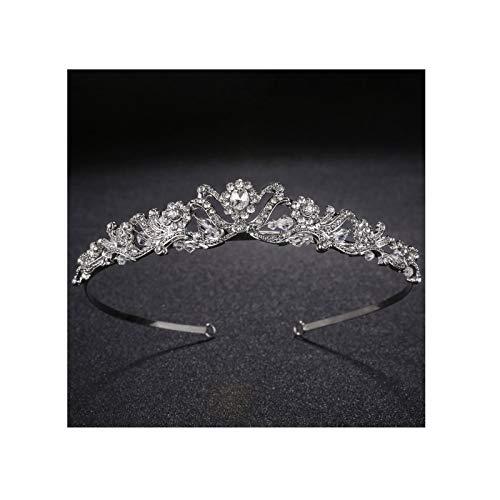 AmDxD Damen Diademe Krone Haarschmuck Diadem Tiara Braut Haarreifen mit Weiß Zzirkonia für Hochzeit - Silber (Fantasie Leben Engel Kostüm)