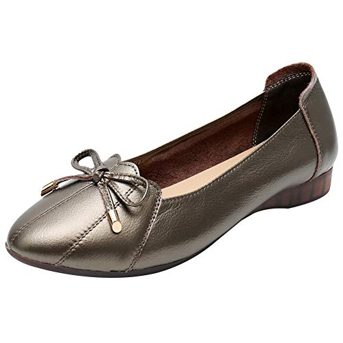 Jamron Damen Echtleder Komfort Schuhe Weich Sohle Ballerinas Niedrige Keilabsatz Slippers Bronze SN02432 EU38.5 (Bronze-loafer)