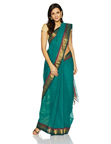 IndusDiva Pine Green Narayanpet Cotton Handloom Saree(BLR1990058_Pine Green_One Size)