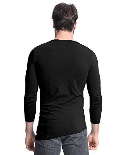 MODCHOK Herren Langärmel Muskel T Shirt Fitnessstudio Tops Hemd Langarmshirt Schwarz