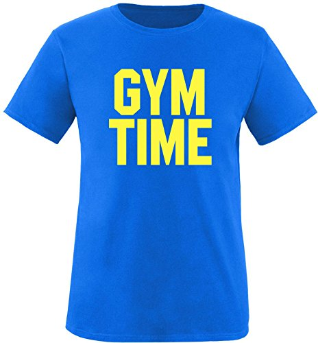 EZYshirt® Gym Time Herren Rundhals T-Shirt Royal/Gelb