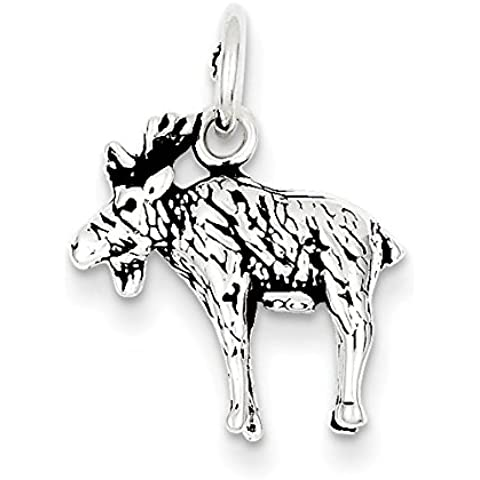 Sterling Argento Anticato Moose Charm