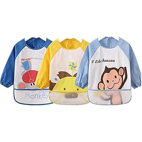 Oral-Q 3PCS Cartoon Kids plástico translúcido suave para bebés baberos impermeables