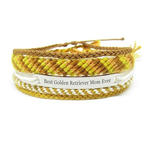 Miiras Handgefertigtes Freundschaftsarmband für Frauen - Best Golden Retriever Mutter Ever Gravur Armband Set - aus Sticktwist und Edelstahl - Geschenk für diejenigen, die Golden Retriever lieben -