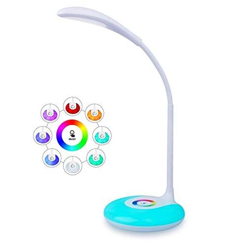 Desk Lamp LED Lámpara de Escritorio Regulable Lámpara de Mesa USB Recargable, Luz de Humor RGB con 256 Colores, 3 Niveles de Brillo, Placentera para Los Ojos, Blanca