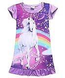 Kinder Mädchen Einhorn Pferd Kleid Nachtwäsche Nachthemd T-Shirt Pyjamas Langarm Tops Kleidung (2-3 Jahre, Lila)
