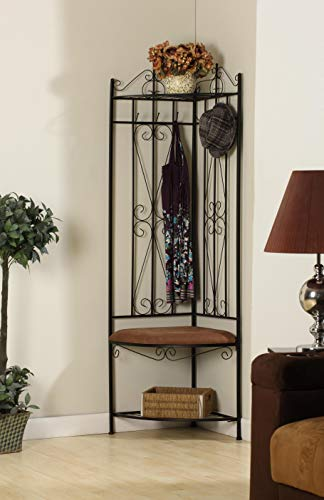 Black Metal Corner Entryway Hallway Storage Bench Hall Tree Coat Rack