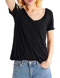 4df1d5bd2c57e6 T.SEBAN T-Shirt Damen Sommer V-Ausschnitt Oberteil Kurzarm Tops mit Tasche