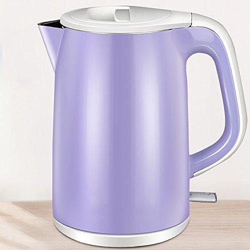 Bouilloire de chauffage automatique Bouilloire électrique en acier inoxydable pourpre Bouilloire électrique anti-brûlant (taille: 22 * 16cm, 1.5L) Faire bouillir rapidement la bouilloire