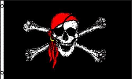 Rot Bandana Jolly Roger (Pirat) Flagge 3x 150Nylon