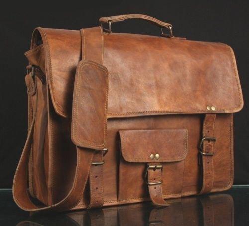 Handmade leather culture, borsa a tracolla da uomo in pelle marrone, originale vintage, borsa per computer, valigetta