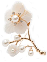 To The Nines Floral Golden Lapel Pin/Brooch For Men/Women (White)