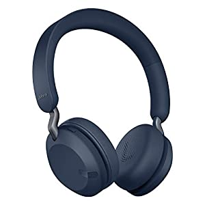 Jabra Elite 45h Wireless On-Ear Headphones - Compact, Foldable Earphones with 50-Hours Battery Life - 2-Microphone Call Technology - Navy Blue