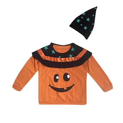 Baby Langarmshirt Bluse Rosennie Kleinkind Kinder Halloween Kostüme Kürbis Set Sterne Print Top + Hut Outfit Sets Baby Jungen Mädchen Pullover mit Kapuzen Pulli Sweats Herbst (Orange)