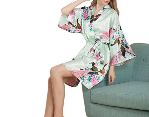 Luck Femme Satin Soyeux Peignoir Robe de Chambre 3/4 Manche avoir Ceinture en Polyester Vert Claire