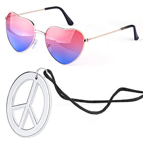 Beelittle Hippie Dressing Zubehörset Herzförmige Sonnenbrille Dünner Metallrahmen Herzstil und Friedenszeichen Halskette (Pink Blau)