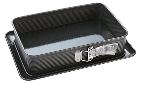 Zenker Lasagne-Springform DELUXE, rechteckige Backform mit emailliertem Flachboden, Blechkuchenform mit Auslaufschutz (Frabe: Schwarz metallic), Menge: 1 Stück