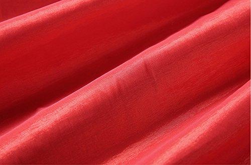 Omela Damen A-linie Kurz Faltenrock Satin Skater Rock Minirock Hohe Taille Ausgestellter rock Rot