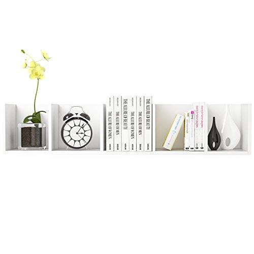 HOMFA Wandregal Bücherregal CD DVD Regal Hängeregal Wandschrank Holzregal Regal mit 5 Fächer, Belastbarkeit 15 kg,weiß,98*20*20cm